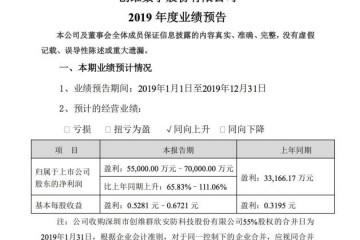 创维数字估计2019年盈余5.5亿元至7亿元