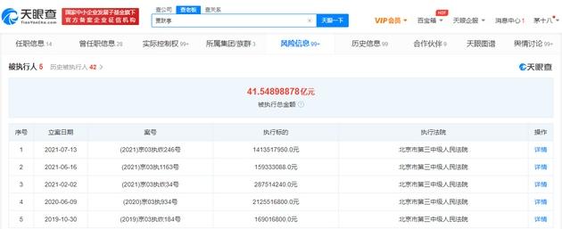 贾跃亭被恢复执行超14亿
